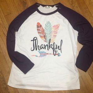 "🧺 Purple White 3/4 Sleeve ""Thankful"" Tee Shirt L"